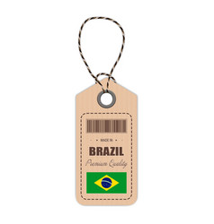 Hang tag made in brazil with flag icon isolated on vector