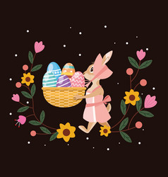 happy easter card with female rabbit and eggs vector image