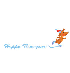 happy new year background with cute dog vector image