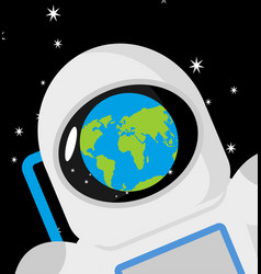 helmet astronaut and planet earth reflection vector image