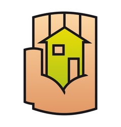 Home icon protected in a stylized hand vector image
