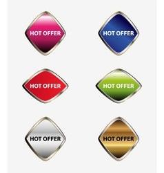 Hot offer button sticker vector