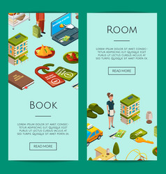 Isometric hotel icons web banner templates vector