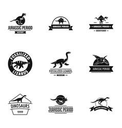 Jurassic period logo set simple style vector