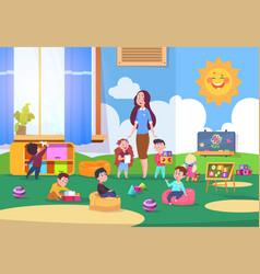 Kids playing kindergarten class cute children vector