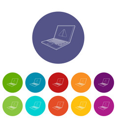 laptop with a warning signal icon outline style vector image