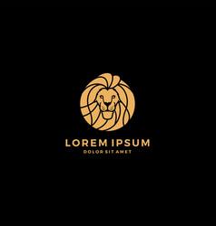 lion head logo round vector image