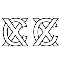 logo sign wc and cw icon sign two interlaced vector image