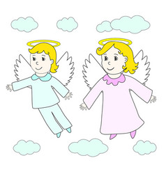 Lovely angels boy and girl fly in clouds vector