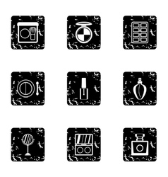 Makeup icons set grunge style vector
