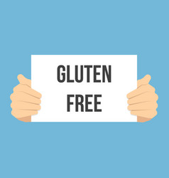 man showing paper gluten free text vector image