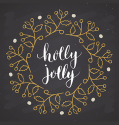 merry christmas calligraphy lettering holly jolly vector image