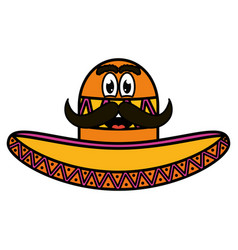 Mexican hat with mustache emoji character vector
