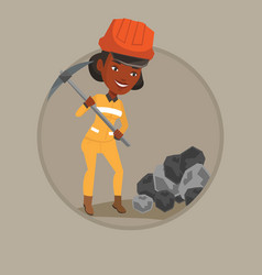 Miner working with pickaxe vector