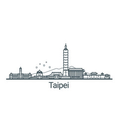 Outline taipei banner vector
