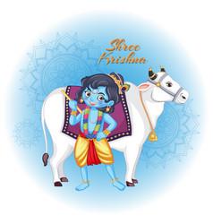 Poster design for shree krishna vector