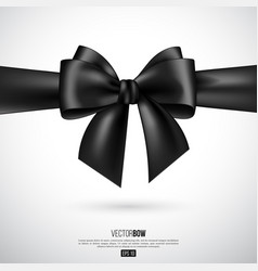 Realistic black bow and ribbon vector