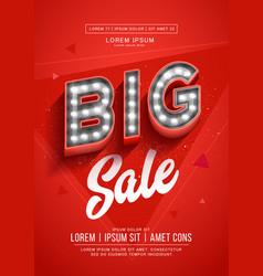 red big sale poster or flyer design retro light vector image