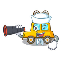 Sailor with binocular cartoon clockwork toy car vector