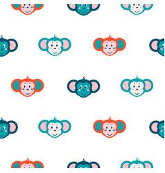 seamless pattern with monkey on white background vector image