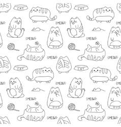 seamless texture with kawaii cat vector image
