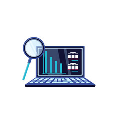 search magnifying glass with laptop computer vector image