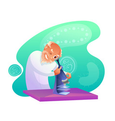 senior scientist looking in microscope character vector image
