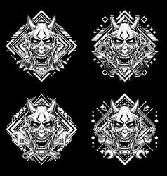 Set black and white japanese demon mask vector