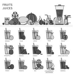 set juices from fruits and vegetables collection vector image