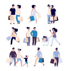 shopping people set man and woman with shopping vector image