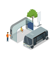 Shuttle bus stop isometric 3d icon vector