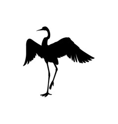 silhouette or black ink symbol a crane bird or vector image
