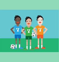 soccer players with a ball vector image