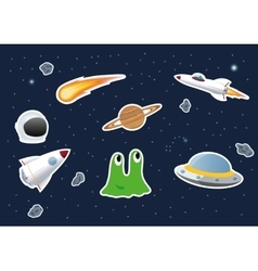 Space theme stickers vector