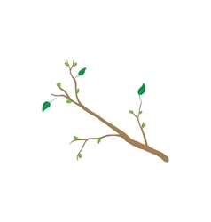 Spring tree branch icon cartoon style vector