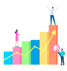 successful businessman and team people with chart vector image