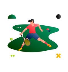 tennis cartoon flat tennis player vector image