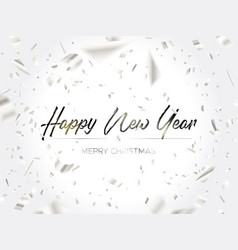 the writing christmas and falling silver confetti vector image