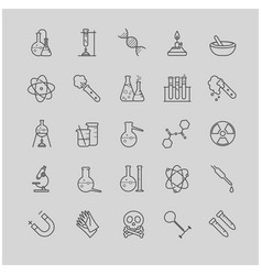 Thin line chemistry icons set vector