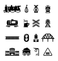 Train railroad icons set simple style vector