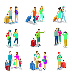travelling people isometric 3d elements vector image