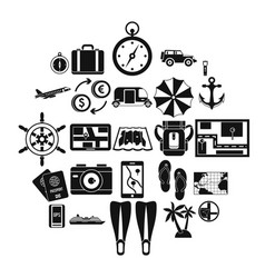 Vacation abroad icons set simple style vector