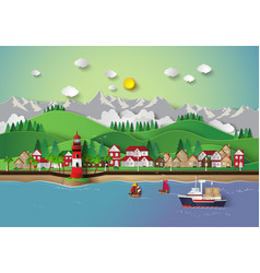 Village and sea bay vector