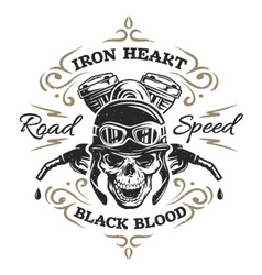 Vintage Biker Skull t-shirt prints vector