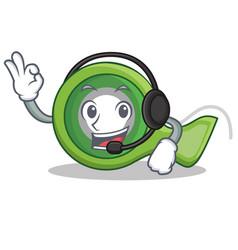With headphone adhesive tape character cartoon vector