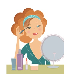 Woman applying cosmetic vector