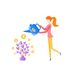 woman watering money tree plastic can container vector image