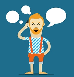 Yound hipster talking template place your text vector