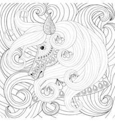 Adult coloring book with gorse head with long vector