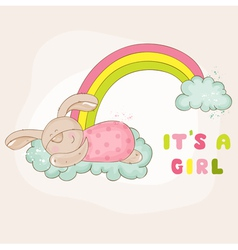 Baby Bunny on a Rainbow - Baby Shower Card vector image vector image